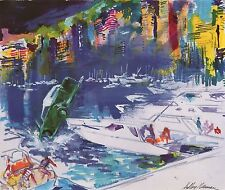 "LEROY NEIMAN BOOK PLATE PRINT ""THE PLUNGE""  CAR PLUNGES FROM DOCK MONACO HARBOR"