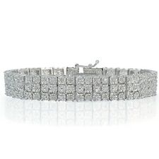 1.00ct TDW Diamond Miracle Set 3-Row Tennis Bracelet in Brass
