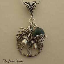 Tree of Life Charm Pendant - Green Jasper Wiccan Necklace - Celtic Yggdrasil