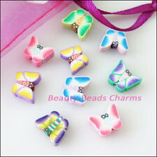 20Pcs Mixed Handmade Polymer Fimo Clay Butterfly Flat Spacer Beads Charms 8x10mm