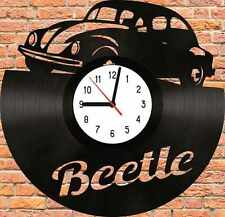VW Beetle Car Logo Vinyl LP Wall Clock Art Deco Handmade
