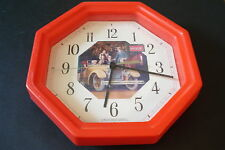 """COCA-COLA 1990 """"TOURING CAR"""" BATTERY OPERATED WALL CLOCK, PRE-OWNED, 10 1/2"""""""