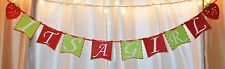 its a girl baby shower strawberry red and lime green hanging banner decoration