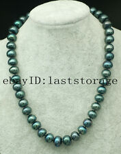 "freshwater pearl peacock black roundel 11-13mm necklace 18"" wholesale beads"