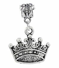 Crown Princess Queen Royalty Dangle Charm Gift for Silver European Bead Bracelet