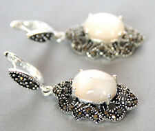 Natural Mother of pearl Shell &Marcasite 925 sterling silver dangle Earring