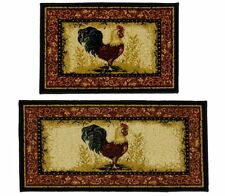 Throw Rug Sets Kitchen Rooster 2 Piece Country Farmhouse Floor Mat Decor Carpet