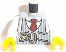 Lego Torso X 1 Pinstriped Vest, Red Tie and Pocket Watch Pattern Light Blue Grey