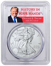 2017 American Silver Eagle PCGS MS70 First Strike Donald Trump Label SKU45519