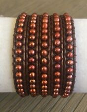 New Auth Chan Luu Bronze Pearl Five Wrap Bracelet on Metallic Brown Leather