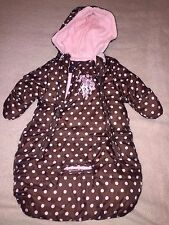 US POLO HOODED BABY BUNTING Brown Pink Dots WARM WINTER SZ 0-9 MO  GIRLS EUC