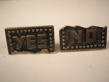 Yes No Swank Vintage Quality Cuff Links Father's Day gift