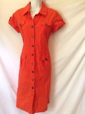Linen Shirt Dress Red Kim Rodgers size 8 Petite Short Sleeve Casual Button Up