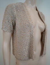M&S WOMAN Marks & Spencer Gold Metallic Sequin Detail Knitwear Cardigan 10 BNWT