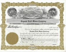 CRYSTAL LEAD MINES COMPANY(WALLACE,IDAHO)....UNISSUED STOCK CERTIFICATE