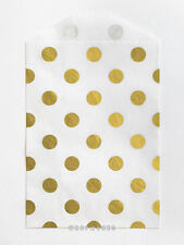 25 Tiny White and Metallic Gold Polka Dot Paper Bags - 2.75 x 4 inches