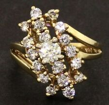 14K yellow gold 1.36CT diamond cluster cocktail ring w/ .28CT center size 4.5