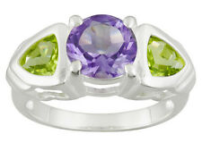 3.05 CTW AMETHYST AND  PERIDOT THREE STONE RING SET IN 925 STERLING SILVER SZ 7