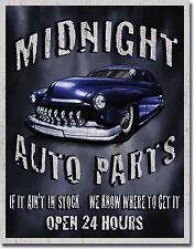 NEW Midnight Auto Parts Antique Vintage Look Classic Hot Rod Car Tin Metal Sign