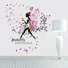 Flowers Fairy Wall Butterfly Sticker Wing Stickers Beautiful Moon Romantic Girls