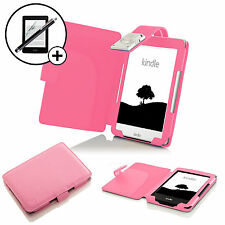 Leather Pink Case Cover with LED Light Amazon Kindle 2016 Screen Prot & Stylus