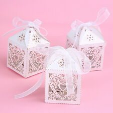 50pcs Love Heart-shaped Cut Gift Candy Boxes With Ribbon Wedding Party Favor Box
