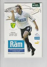 Derby County v Norwich City - Matchday Programme 01-11-2000 - Worthington Cup