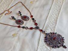 Antique Style  Ruby Emerald Large Necklace Earrings set,Ethnic Vintage Bohemian
