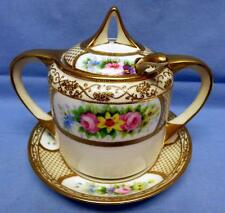 ANTIQUE 20s NORITAKE MORIMURA HAND PAINTED SUGAR BOWL W/LID&SPOON & UNDERPLATE