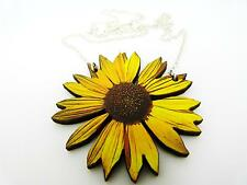 "VIBRANT YELLOW STATEMENT WOODEN SUNFLOWER SILVER NECKLACE PENDANT 18"" B"