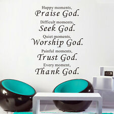 Vinyl DIY Home Art Mural Removable Stickers Decor Praise God Wall Quotes Decal