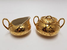 "Hand Decorated 22-Kt Gold Plated Cream Pitcher & Sugar Bowl 2.75"" Tall x 4"" Wide"