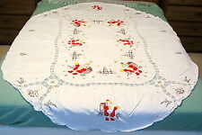 Vtg OVAL 80 x 63 Christmas TABLECLOTH Hand Stitched APPLIQUE Embroidery SANTA