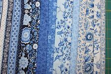 "12 ""BLUE LEAF"" 100% COTTON QUILT FABRIC FAT QUARTERS BY ANDOVER/MAKOWER UK"