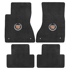 2003-07 Cadillac CTS CTS-V 4pc Ebony Black Floor Mats Set - Wreath & Crest Logo