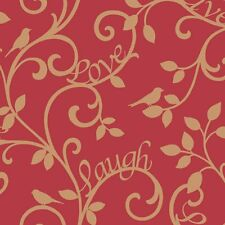 Fine Decor Live Love Laugh Scroll Feature Wallpaper Red / Gold Words
