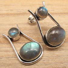 925 Silver Overlay Blue Fired LABRADORITE Stud Earrings BUY COMBINED SHIPPING