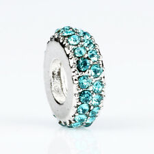 925 Silver Spacer Blue CZ Loose Macroporous Bead Fit European Charm Bracelet