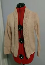 pure handknit heavy weight cotton cardigan sweater light pink size small