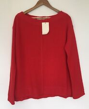 NEW ZARA RED WOOL BOAT NECK JUMPER TOP LADIES BOAT NECK SIZE LARGE UK 12/14 C196