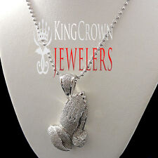 GENUINE REAL DIAMOND MENS LADIES MINI PRAYING HAND PENDANT CHARM CHAIN NECKLACE