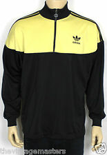 VINTAGE ADIDAS ORIGINALS BLACK TREFOIL LONG SLEEVE ZIP TOP OLD SCHOOL RARE L