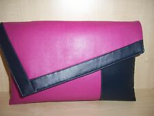 OVER SIZED FUCHSIA PINK & NAVY BLUE faux leather clutch bag UK made.