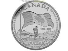 1 $ Proof Silver Dollar 50 Jahre Canadian Flag Kanada 2015 PP Silber