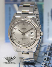 Rolex Datejust II Steel 18k White Gold Bezel Diamond Dial 41mm Mens Watch 116334