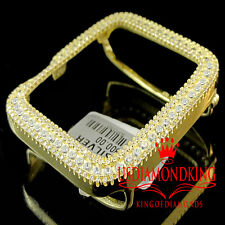 Real Yellow Gold Sterling Silver Lab Diamond Apple Watch Case 42MM Sport Bezel