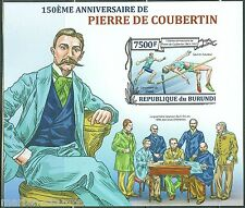 BURUNDI  2013 150th BIRTH PIERRE de  COUBERTIN OLYMPIC GAMES ORGANIZER IMPF  S/S