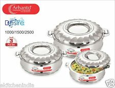 Arhanto Stainless Steel Double Walled Hotbox / Serving Pot 3 Pcs Set