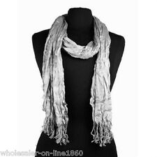 """Men's Fashion Soft Solid Gray Long Crinkle Silk-Cotton Neck Scarf 66x25"""""""