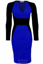 Ladies Long Sleeve V neck Black Contrast Midi Knee Length Womens Bodycon Dress